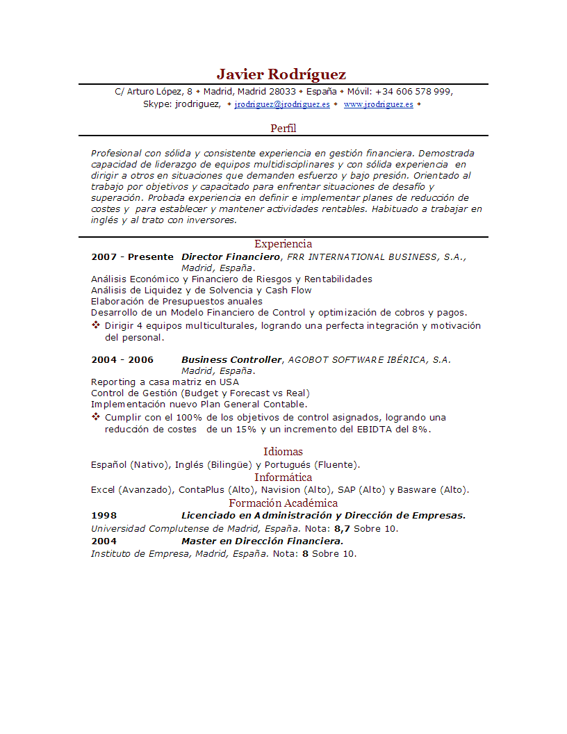 Ejemplos De Curriculum