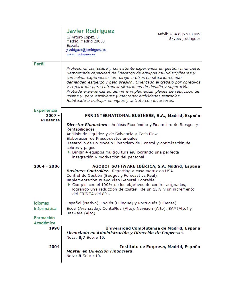 Ver Curriculum   Muestra de Curriculum   Ver Muestra de Curriculum ...