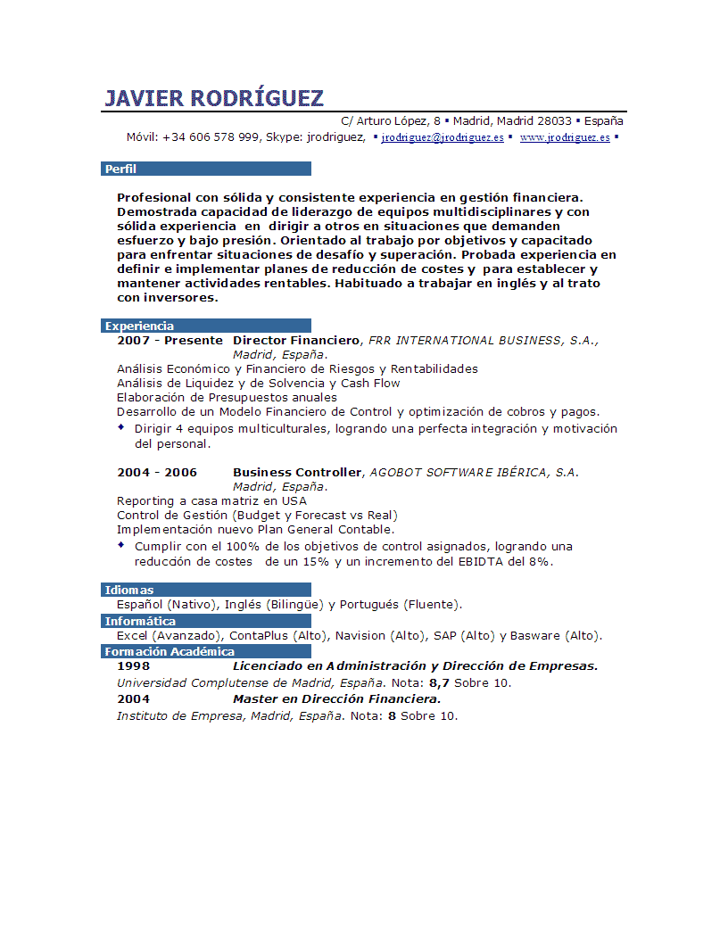 Ver Curriculum | Muestra de Curriculum | Ver Muestra de Curriculum ...